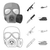Assault rifle M16, helicopter, tank, combat knife. Military and army set collection icons in outline,monochrome style royalty free illustration