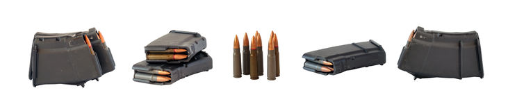 Assault rifle magazines and cartridges Royalty Free Stock Images