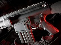 Assault rifle with red gels Royalty Free Stock Images