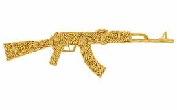 Assault rifle shape composed of ammunition cartridges isolated on white Royalty Free Stock Photo