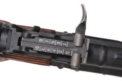 Assault rifle sight. The sight of a Russian AKM (AK47) assault rifle Royalty Free Stock Photo