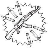 Assault rifle sketch Royalty Free Stock Photography