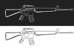 Assault rifle sketch. Classic armament vector illustration. Pencil style drawing Stock Photo