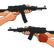 Assault rifle, small arm, machine gun, shotgun. Cartoon comics style vector illustration Royalty Free Stock Photography