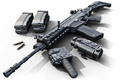 Assault rifle with tactical accessories front and rear sites , and a laser guided rifle scope and ammo clips on a white background Royalty Free Stock Image