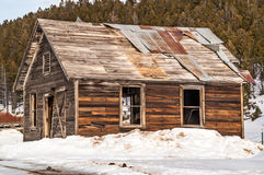 Assay Office. Sturdy building in a Montana ghost town on a beautiful winter day Stock Photography