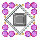 Asscher cut square brooch Royalty Free Stock Images