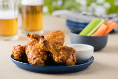 Asse as asas de galinha quentes com cervejas no jardim do bar Imagem de Stock