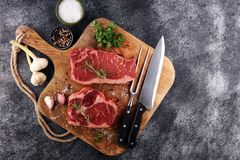 Asse Rib Eye Steak, bife envelhecido seco do entrecote de Wagyu foto de stock