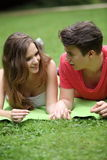 Assectionate teenage couple on a date Stock Photography