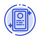 Assegnazione, applicazione di lavoro, linea punteggiata blu linea icona della prova illustrazione vettoriale