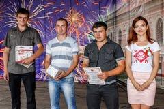 Assegnazione degli impiegati migliori nella celebrazione della festa dell'indipendenza della Repubblica Bielorussa Homiel'regione Fotografie Stock Libere da Diritti