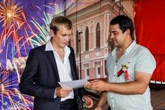 Assegnazione degli impiegati migliori nella celebrazione della festa dell'indipendenza della Repubblica Bielorussa Homiel'regione Fotografia Stock Libera da Diritti