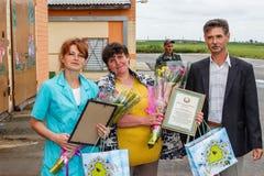 Assegnazione dei lavoratori migliori dell'industria agricola nella regione di Homiel'della Repubblica Bielorussa Fotografia Stock Libera da Diritti