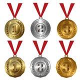 Assegni le medaglie l'oro, argento e bronzi le guarnizioni o le medaglie Immagini Stock