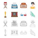 Assegni Oscar, lo schermo di film, i vetri 3D Film ed icone stabilite della raccolta del film nel fumetto, azione di simbolo di v Immagini Stock