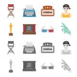 Assegni Oscar, lo schermo di film, i vetri 3D Film ed icone stabilite della raccolta del film nel fumetto, simbolo monocromatico  Fotografie Stock Libere da Diritti