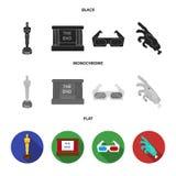 Assegni Oscar, lo schermo di film, i vetri 3D Film ed icone stabilite della raccolta del film nel vettore nero, piano, monocromat Fotografia Stock