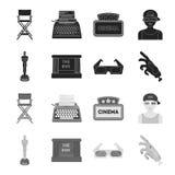Assegni Oscar, lo schermo di film, i vetri 3D Film ed icone stabilite della raccolta del film nelle azione nere e monocromatiche  Illustrazione Vettoriale