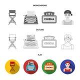 Assegni Oscar, lo schermo di film, i vetri 3D Film ed icone stabilite della raccolta del film in piano, profilo, vettore monocrom Fotografie Stock