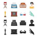 Assegni Oscar, lo schermo di film, i vetri 3D Film ed icone stabilite nel nero, azione della raccolta del film di simbolo di vett Immagini Stock