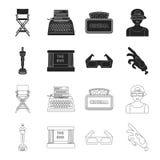 Assegni Oscar, lo schermo di film, i vetri 3D Film ed icone stabilite nel nero, azione della raccolta del film di simbolo di vett Fotografie Stock