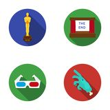 Assegni Oscar, lo schermo di film, i vetri 3D I film e le icone stabilite della raccolta del film nello stile piano vector le azi Fotografia Stock Libera da Diritti