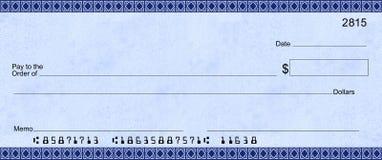 Assegno blu di Deco con i numeri di cliente falsi immagini stock