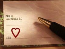 Assegno di amore Fotografia Stock
