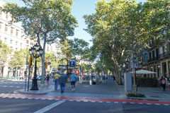 Asseig de gracia view with people, Barcelona, Spain Stock Photography