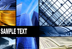 Assemblage of bussiness theme photos Royalty Free Stock Photography
