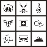 Assemblage modieuze zwart-witte pictogrammen Canada Stock Fotografie
