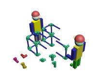 Assemblage van 3D bouwvakkers Stock Afbeelding