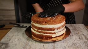 Assemblant les couches de gâteau d'écrou-banane, enduisant du sirop, appliquant la crème de beurre clips vidéos