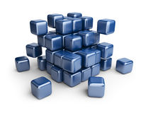 Assemble or destruction cubes. 3D. Illustration  on white Royalty Free Stock Images