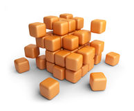 Assemble or destruction cubes. 3D   Stock Photography