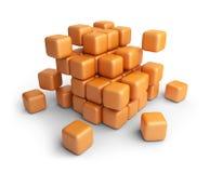 Assemble or destruction cubes. 3D. Assemble or destruction cubes. 3D Illustration  on white Stock Photography
