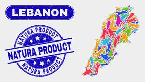 Free Assemble Lebanon Map And Scratched Natura Product Watermarks Stock Photography - 152472632