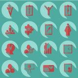 Assemblea nelle icone piane di stile l'affare di tema Immagini Stock