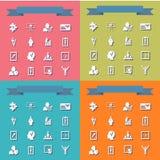 Assemblea nelle icone piane di stile l'affare di tema Fotografia Stock Libera da Diritti