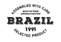 Assembled in Brazil rubber stamp Stock Images