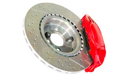 Assembled caliper disc and pads of car brake system Stock Images