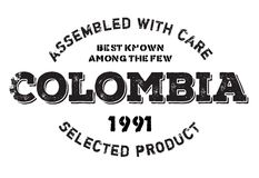 Assembled in Colombia rubber stamp Stock Images