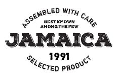 Assembled in Jamaica rubber stamp. Grunge design with dust scratches. Effects can be easily removed for a clean, crisp look. Color is easily changed Stock Photo
