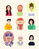 Assembled set of different beautiful people on white board royalty free illustration