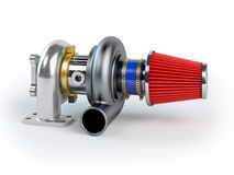 Assembled turbocharger sistem with air filter Royalty Free Stock Photos