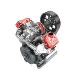 Assembled V2 engine of large powerful motorbike isolated on whit Stock Photo