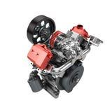 Assembled V2 engine of large powerful motorbike isolated Royalty Free Stock Photo