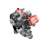Assembled V2 engine of large powerful motorbike isolated Royalty Free Stock Images