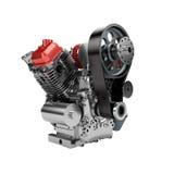 Assembled V2 engine of large powerful motorbike isolated Royalty Free Stock Photos